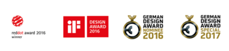 Logos: Reddot Award Winner 2016, Design Award 2016, German Design Award Nominee 2016, German Design Award Special 2017